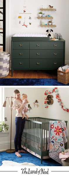 The Hampshire Olive Collection has clean, timeless designs that'll effortlessly match your nursery. With a crib that transforms into a toddler bed and a dresser that converts into a changing table, it's full of possibilities.