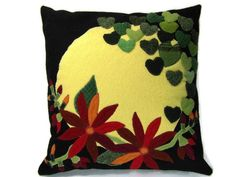 Sunny Hearts and Hot Flowers Applique Felted Wool Decorative Throw Pillow Size 14 x 14