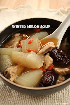 Learn how to cook this easy, healthy, and delicious traditional Chinese winter melon soup (冬瓜汤) with pork ribs, red dates/jujube, and goji berries. Chinese Soup Recipes, Asian Recipes, Asian Foods, Indonesian Recipes, Indonesian Food, Yummy Recipes, Ethnic Recipes, Vegetarian Recipes, Winter Melon Soup