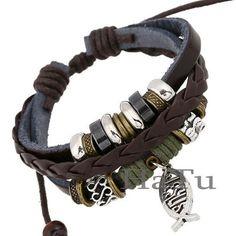 Leather bracelet New style fish jesus bracelets Handmade Bangle Jewelry men