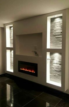 the other layout but with a fireplace under the TV like this, and the lights inside the shelving