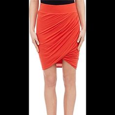 """Helmet Lang Twist Skirt """"Helmut Lang Vein (red) stretch-jersey Twist skirt.  Wide cased elastic waistband, pleats create draping at front, 21"""""""" length, approximately, Slips on, Lined, Available in Vein (red), Modal/wool/Spandex(R); lining: modal, Hand wash, Imported.    Model is 5'10""""""""/178cm and is wearing a size Small. Helmut Lang Skirts Midi"""