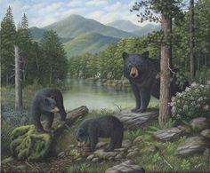 Rob-ert Trademark Global Robert Wavra 'Watching The Cubs Play' Canvas Art - 32 x 24 x 2 Canvas Art Prints, Framed Prints, Framed Canvas, Bear Paintings, Wildlife Paintings, Bear Art, The Masterpiece, Black Bear, Brown Bear