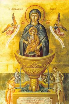 Tempera Icon from the Icon Painting Workshop of St.Elisabeth Convent The Life-Giving Spring of the Mother of God is a feast d. Byzantine Icons, Byzantine Art, Blessed Mother Mary, Blessed Virgin Mary, Religious Icons, Religious Art, Queen Of Heaven, Mama Mary, Holy Mary
