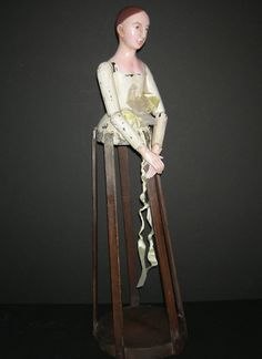 """LARGE 27"""" - ANTIQUE WOODEN CAGE DOLL - BEAUTIFUL CARVING -Advanced Collectors!!! 
