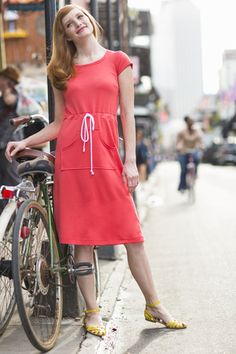 Clothesline Fit and Flare Dress coral
