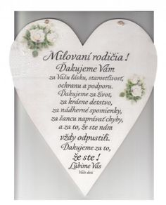 Drevené srdce: Milovaní rodičia! | 9,60 € - obrázok Wedding Games, Wooden Hearts, Cool Words, Fathers Day, Quotations, Diy And Crafts, Wedding Inspiration, Quotes, Handmade