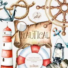 Nautical watercolor clipart. Marine. Ocean. Individual PNG files. Lighthouse, Lifebuoy, lamp, Helm, Banner, Scroll, Anchor, invitation de ReachDreams en Etsy https://www.etsy.com/es/listing/252536492/nautical-watercolor-clipart-marine-ocean