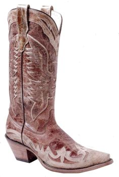 CB Finchers Western Wear - CORRAL Ladies Crackle Distressed Cognac / Antique Saddle, $219.95 (http://www.cbfincherswesternwear.com/corral-ladies-crackle-distressed-cognac-antique-saddle/)