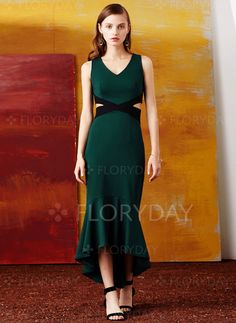 Dresses - $97.38 - Polyester Solid Sleeveless High Low Casual Dresses…