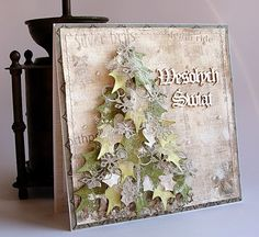 christmas tree card - Dorota_mk christmas tree made of holly leaves