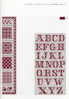 Patchwork in Rouge - Part II Cross Stitch Alphabet, Cross Stitch Samplers, Cross Stitching, Van Damme, Cross Stitch Designs, Cross Stitch Patterns, Crochet Letters, Cross Stitch Cushion, Alphabet And Numbers