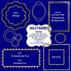 Beautiful Gold Frames Set One.    Consisting of:  7 x Gold Frames  CU Derivative Licence    Designer Resource For Commercial Use - Full Size - PNG Transparent Background - 300 dpi  Seven beautiful full size digital embelishments on transparent backgrounds. Perfect for scrapbook pages,  card making and all manner of paper crafts. They can be reduced for taggers and to fit smaller cards and scrap pages.  Commercial Use and Personal Use Designer Resource. They must not be used, sold or shared…