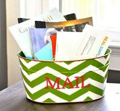 A mail bin! Instead of the mail being scattered all over the counter! So doing this!<3
