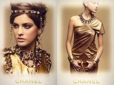 Peinados bizantinos:Tanto los hombres como las mujeres se peinaban, pero cada uno de forma diferente.  -Mujeres: Llevaban el cabello largo y preferían los peinados elaborados, a veces se sujetaban el cabello con un turbante al estilo oriental o con una cadena de perlas.  En la foto podemos ver como ::CHANNEL:: en su colección de inspiración bizantina, peino a las modelos igual que se peinaban las mujeres entonces.*33* Imagen:GOOGLE;Información:HISTORIA DE LA MODA,DESDE EGIPTO HASTA NUESTROS…