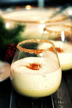 Homemade Eggnog with Rum and Kahlua. Homemade Eggnog with Rum and Kahlua. Eggnog is so fluffy and light when its home made. Very different from store bought. Christmas Cocktails, Holiday Drinks, Party Drinks, Cocktail Drinks, Fun Drinks, Yummy Drinks, Cocktail Recipes, Alcoholic Drinks, Camping Drinks