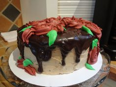 Double shot Mocha Latte Cake with Dark Chocolate Ganache, decorated with roses for a Christmas Party!