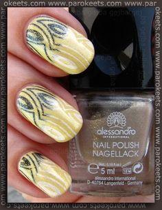 Failed gradient on pretty yellow Avon shade. :D http://www.parokeets.com/en/2012/06/avon-lemon-sugar-stamping/