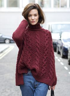 Marsala cabled sweat