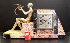 STUNNING-FRENCH-ART-DECO-MARBLE-CLOCK-WITH-FIGURINE-OF-DIANNA-BY-J-DAUVERGNE