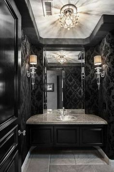 Top Amazing Modern Gothic Interior Design Ideas and Decor Picture 37 - Awesome Indoor & Outdoor Gothic Interior, Gothic Home Decor, Gothic Bathroom Decor, Steampunk Bathroom, Black Powder Room, Powder Rooms, Powder Room Lighting, Bathroom Lighting, Home Design