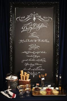 an ice cream sundae bar with show-stopping chalkboard menu Sundae Bar, Chalkboard Wedding, Framed Chalkboard, Black Chalkboard, Chalkboard Drawings, Chalkboard Lettering, Wedding Chalkboards, Blackboard Menu, Kitchen Chalkboard