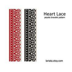 Heart Lace  Peyote Bracelet Pattern  INSTANT DOWNLOAD par lariata