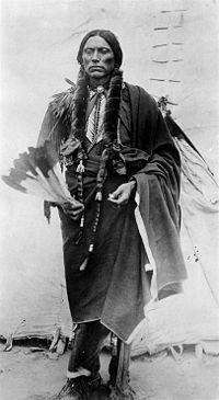 Quanah Parker,1845 or 1852 - Feb.23,1911 was a Comanche War Chief, a leader in the Native American Church and the last leader of the powerful Quahadi. He was the son of Comanche Chief Peta Nocona and Cynthia Ann Parker who had been kidnapped at the age of 9. Quanah Parker looked, and dressed like an Indian but he had very blue eyes. He was one of the most feared Indian leaders in the west. He died on Feb. 23,1911 at the age of 59.