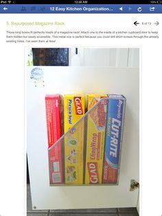 Magazine rack in cupboard