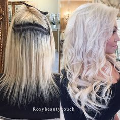 WEBSTA @ roxybeautytouch - #transformationtuesday before and after from my previous post. Some are hard corrections some are easy. I welcome all new clients. Perfect blonde with tapein extensions. 1️⃣ @olaplex #2 all over her blonde hair 2️⃣ Root bleach @wellahairusa 30 volume/ @olaplex #1 3️⃣ new bleach @wellahairusa 20volume/ all over hair bleach hair while there is @olaplex #2 on ✖️rinse 4️⃣toner @goldwell 12SB / blonding cream / ash 5️⃣ 18' tapein extensions to complete the look.