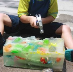 Thrill your kid with an ice block treasure hunt. | 29 Cheap And Easy DIYs That Will Help Parents Survive The Summer