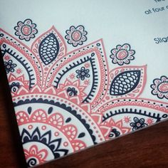 Coral and navy letterpress wedding invitation, wamil for an Indian wedding.  | Invitations by Ajalon | invitationsbyajalon.com