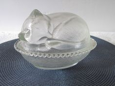 Sleeping Cat on Bed Bowl made of Glass Decorative Plates & Bowls  #cat