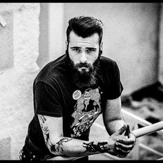 #blackandwhite #beard #tattoo #piercing #redneck #rock #rockabilly #psychobilly #billybastard #lifestyle #photographie #hank3 #moustache  More on https://m.facebook.com/LeKurdeModel?refsrc=http%3A%2F%2Fwww.google.fr%2F&_rdr