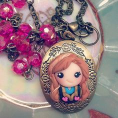 Anna Frozen Necklace - Frozen Birthday Party - Princess Party - Vintage- Disney Inspired -Cremedelagems