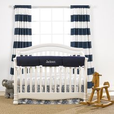 This navy monogram basics crib bedding set (includes monogram) and is gender neutral. You can buy this four piece baby bedding set either with or without the curtains. The crib rail cover looks fantastic when monogrammed. Navy Crib Bedding, Neutral Bedding, Baby Boy Bedding, Baby Cribs, Baby Quilts, Bedding Sets Online, Luxury Bedding Sets, Comforter Sets, Modern Crib
