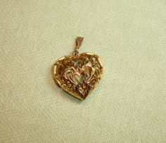 Large Gold Toned Ornate Heart Pendant - 1 pc - Jewelry Making Supplies