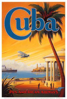 Visite Cuba Poster (by Kerne Erickson) #Travel #Cuba