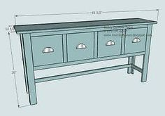 Could this be the answer to our DVD storage problem? (if we put child safety latches on the drawers, of course) Balin Console Table - DIY free plans from Ana White Easy Woodworking Projects, Easy Diy Projects, Wood Projects, Furniture Projects, Woodworking Plans, Pallet Furniture, Furniture Plans, Plywood Furniture, Painted Furniture