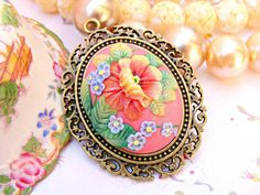 Mexican Embroidery Pendant Necklace, from Sweetystuff on Etsy