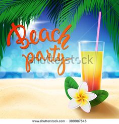 Summer Holidays design template with original hand lettering Beach Party. #beach #party #lettering #calligraphy #sea