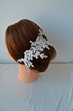 Ivory Bridal Headpiece, Lace Wedding Hair,  Headpiece, Wedding Hair Accessories - newgloves design