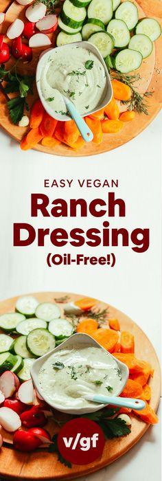 RICH, CREAMY Vegan Ranch! Oil-free, 10 ingredients, perfect classic flavor! #vegan #glutenfree #sauce #ranch #dressing #minimalistbaker