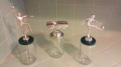 Repurposed trophies for winners.