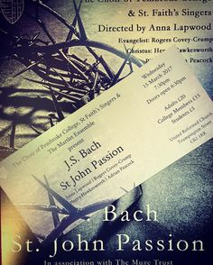 Tickets have arrived for Pembroke Choir's performance of Bach's St John Passion on the 15th March at 7:30. . Don't miss your chance to attend! Tickets can be purchased through the eventbrite page: http://ift.tt/2llOqSE