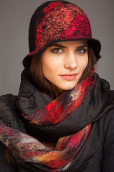 Sale Free Shipping worldwide Cloche Hat Red Silk Hand Felted Merino Wool