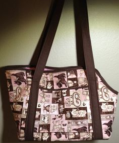 Large Brown and Pink Pampered Puppy Dog Carrier Purse CUSTOM ORDER for ALISON