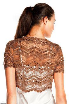 Tiered Broomstick Crochet Bolero. Chevron crochet, short sleeved bolero. Sequined and highlighted with glitter.  Yarn, 5% metal fiber, 95% viscose.  http://media-cache-ec0.pinimg.com/originals/3e/cd/d4/3ecdd4e2becc1329a9d1ec1a83380b8b.jpg