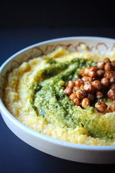 goat cheese polenta with basil pesto and pan fried chickpeas