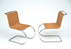 Pair of Caned MR10 Knoll Chairs Designed by Mies van der Rohe | From a unique collection of antique and modern chairs at https://www.1stdibs.com/furniture/seating/chairs/